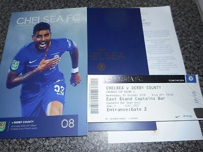 CHELSEA  v  DERBY COUNTY 2018/19  CUP  OCT 31 *5 STAR* PACKAGE 7 ITEMS INC. MENU