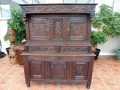 Rare Country Oak Carved   Coffer On Coffer Court Cupboard 1690 Free Shipping