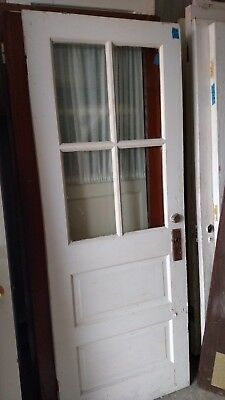 Exterior Antique Wood Door 4 Panes Glass 2 Horizontal Raised Panels  30 X 77