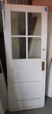 Exterior Antique Wood Door 4 Panes Glass 2 Horizontal Flat Panels  30 X 77