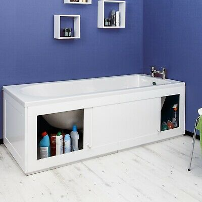 Croydex Unfold 'N' Fit White Front Side Bath Panel 1680mm & Lockable Storage