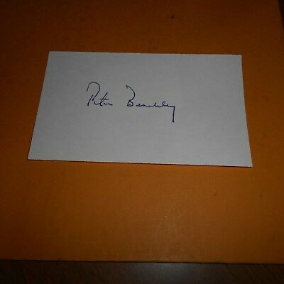 Peter Benchley was an American author, screenwriter Hand Signed Index Card Jaws
