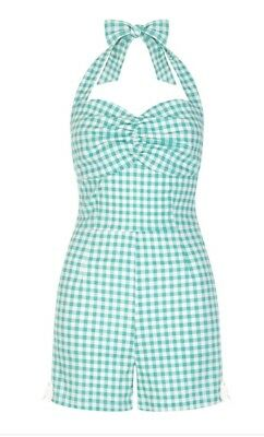 New 2X Collectif Clothing Pinup Girl Playsuit Romper Pin Up MINT gingham halter