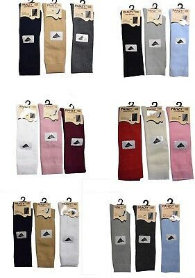 3 Pairs Baby Girls/Boys Unisex Kids Plain Knee High Socks Party School Stockings