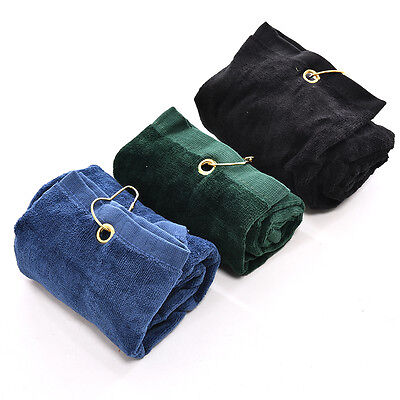 Touch Golf Tri-Fold Towel Carabiner Clip Sports Hiking Cotton 40 x 60 cm NT