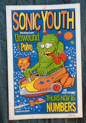 Sonic Youth 1995 Tour Poster Numbers Houston Artist Uncle Charlie Signed