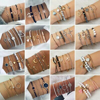 5Pcs Fashion Women Boho Heart Animal Horse Tassels Beads Bracelet Bangle Jewelry