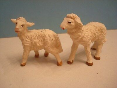 "Pair Vintage Italy Nativity Replacement Sheep Lamb 2.25"" tall Tall Paper Mache"