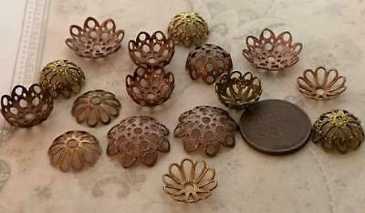 Vintage Brass & Copper Tone Metal Filigree Bead Caps Mix 16