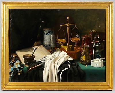 Amazing Antique Oil Painting  Still Life with Pharmacy Tools 19th Century  Art
