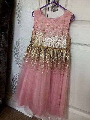 43ae14ce85133 NEW-STUNNING GIRLS BLUE SEQUIN SPARKLY TULLE NET PARTY DRESS 5-6 Yrs ...