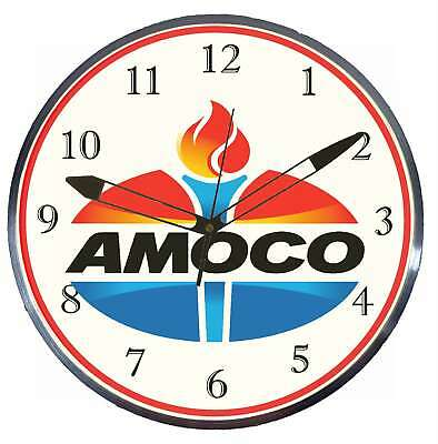 """Amoco Gas Oil 15"""" Retro Style Metal Pam Advertising Clock LED Lighted"""