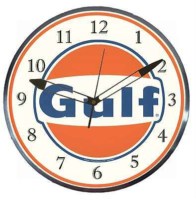 """Gulf Gas Oil 15"""" Retro Style Metal Pam Advertising Clock LED Lighted"""