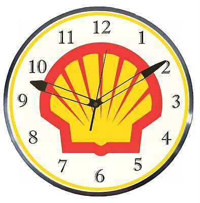 "Shell Gas Oil 15"" Retro Style Pam Advertising Clock LED Backlighted"