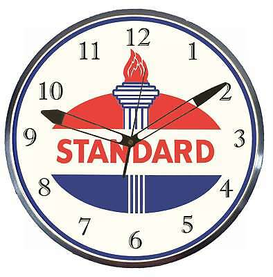"Standard Oil Vintage Logo 15"" Retro Style Pam Advertising Clock LED Backlighted"