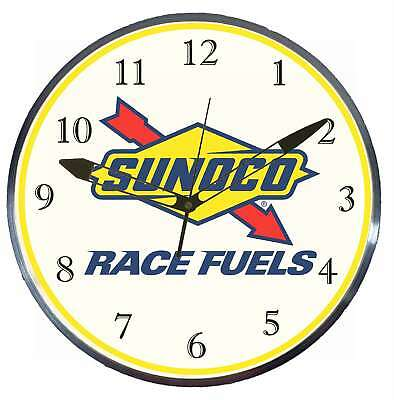 """Sunoco Race Fuels 15"""" Retro Style Pam Advertising Clock LED Backlighted Gas Oil"""
