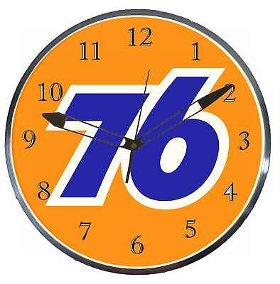 """Union 76 Gas Oil 15"""" Retro Style Metal Pam Advertising Clock LED Lighted"""