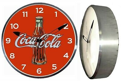 """Coca Cola Bottle 15"""" Retro Style Metal Pam Advertising Clock LED Lighted"""