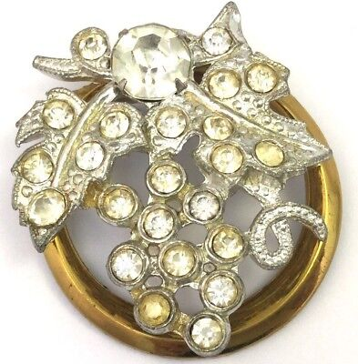 Vintage Art Deco Brooch Pin Grape Cluster Mixed Metal Clear Rhinestone Accents