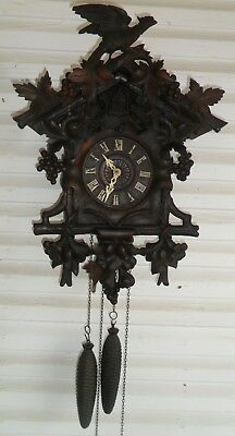 Large Beautiful Rare Antique  Cuckoo Clock Restored And Running! Maker Unknown