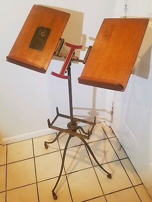 FREE SHIP! Antique Bible Stand by L.W. Noyes, Cast Iron & Wood, dictionary book