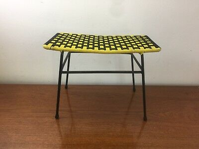 Funky Woven Seat Vintage Wire Frame Stool