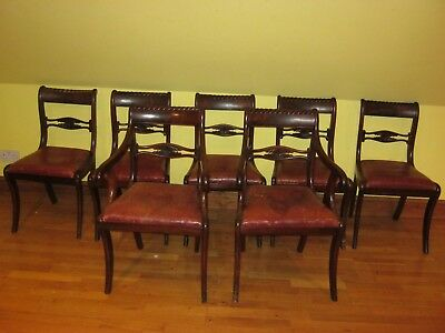 Fabulous  Set Of Seven 7 Regency Dining Chairs Inc 2 Carvers