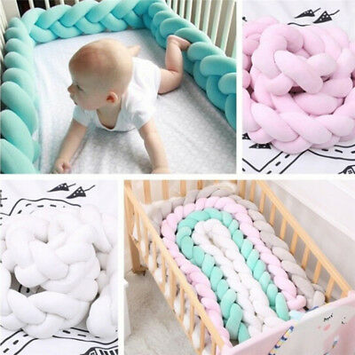 1M /2M Baby Soft Knot Pillow Braided Crib Bumper Decorative Bedding Cushion Pip