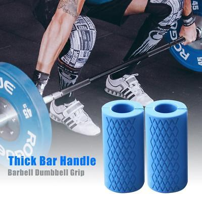 1 Pair Thick Fat Barbell Silicone Grips Home Gym Arm Wrap Bar Dumbbell Grips