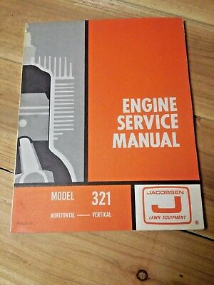 Vintage Jacobsen Lawn Equipment Model 321 Engine Service Manual 546118 Excellent