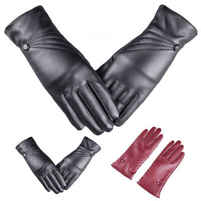 Women Warm Faux Leather Windproof Gloves Outdoor Party Cashmere Warmer Mittens