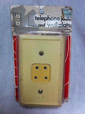 NOS Vintage CAROL CABLE CO. Telephone Jack 4 PRONG COVER PLATE Cream Color