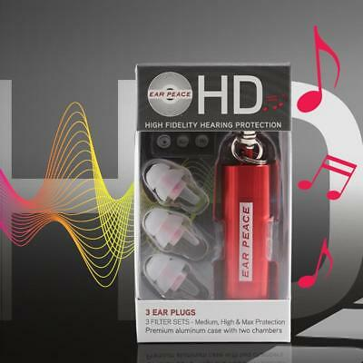 EarPeace HD Musicians Ear Plugs Red Black High Fidelity Hearing Protection