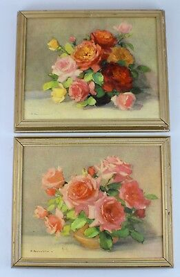 Vintage Shabby Chic Floral Roses Flowers Art Oil Paintings Prints Gold Framed