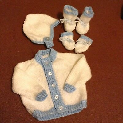 Hand Knit Baby Boy Cardigan, Hat, Mitts And Booties - Newborn