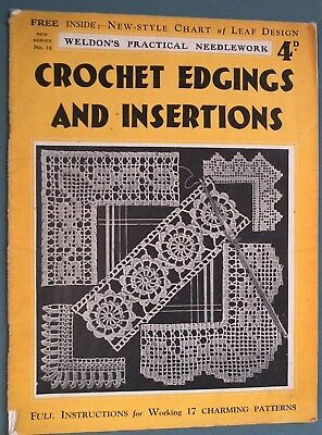 Vintage 1930s CROCHET EDGINGS and INSERTIONS Weldon's book lace making patterns