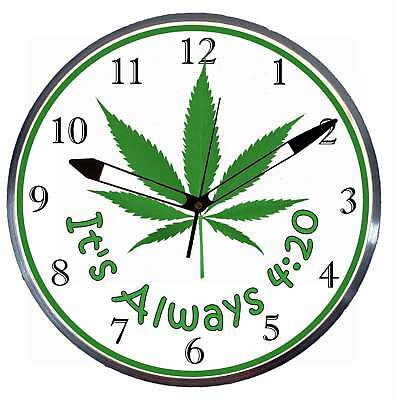 """It's Always 4:20 15"""" Retro Style Metal Pam Advertising Clock LED Lighted"""