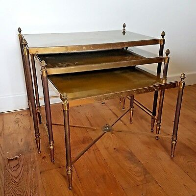 3 brass Hollywood style Maison Jansen/Bagues  style  nesting tables