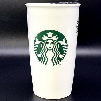 Starbucks Double Wall White Ceramic Travel Tumbler Mermaid Logo 12 Oz