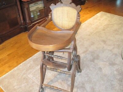 Vintage Victorian Childs Highchair And Floor Chair Dated 1875. Walnut Wood Cane