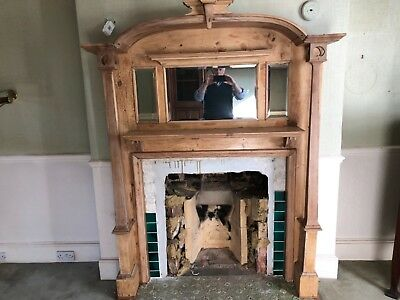 Exceptional vintage wood fireplace surround.