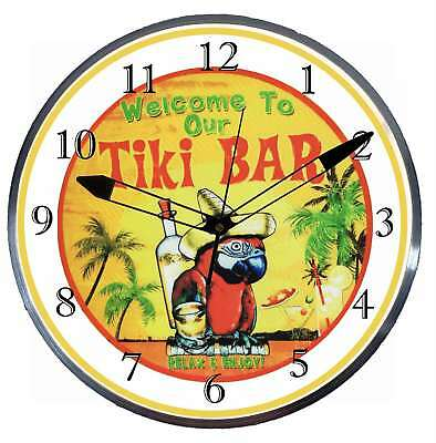 """Welcome to Our Tiki Bar 15"""" Retro Style Metal Pam Advertising Clock LED Lighted"""