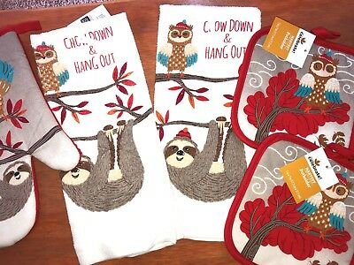 5 PC Kitchen Set- 2 Hand Towels,2 Pot Holders, 1 Mitt- Sloth Owl Fall Theme