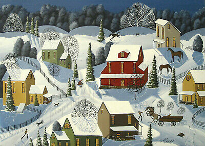 Cat Mouse country snow winter Christmas gift art Criswell ACEO print of painting