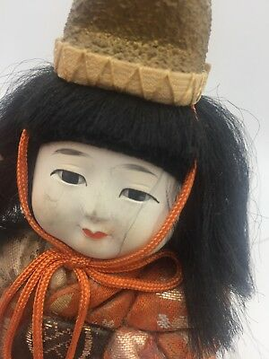 Antique Vtg Japanese Gofun Stocky Hina Doll Silk Kimono Glass Eyes Festival Hat