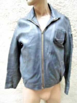 Blouson Pilote Cuir Armee De L'air  / Vintage France Pilot Leather Jacket 96L