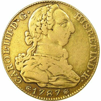 [#494669] Coin, Spain, Charles III, 4 Escudos, 1787, Madrid, VF(30-35), Gold
