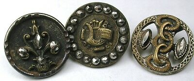 3 Antique Brass Buttons Various Designs w/ Cut Steel Accents - 5/8""