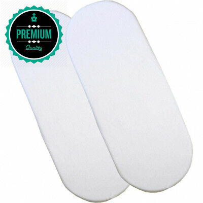 BabyPrem Fitted Cotton Moses Basket Sheets - Pack of 2 White