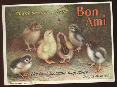 1907 Trade Card, Bon Ami Scouring Soap, 'hasn't Scratched Yet', Baby Chicks